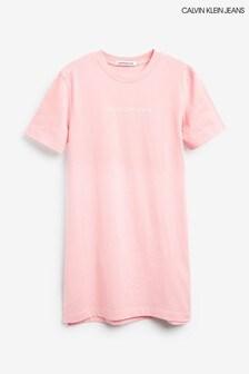 Calvin Klein Jeans Pink Institutional Logo T-Shirt Dress