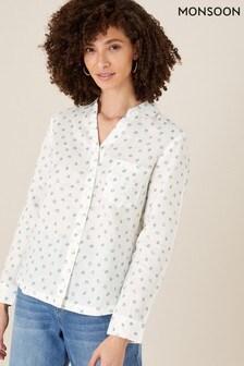חולצה מנוקדת מפשתן טהור שלMonsoon דגםNatural Patsy