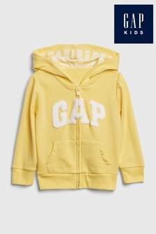 Sudadera amarilla con capucha y logotipo de Gap