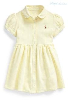 Ralph Lauren Gestreiftes Oxford-Kleid, Gelb