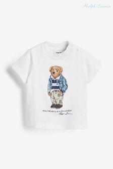 Белая футболка с медведем Ralph Lauren