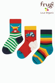 Frugi Blue Organic Cow, Tractor And Rainbow Socks Three Pack