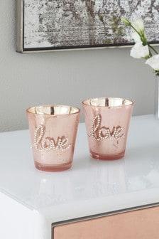 Набор подсвечников для чайных свечей из посеребренного стекла (2 шт.)