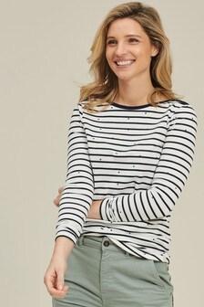 FatFace Gepunktetes T-Shirt aus Bio-Baumwolle mit Matrosenstreifen, natur