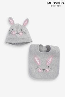 סט סינר וכובע ארנבון לתינוקות באפור שלMonsoon