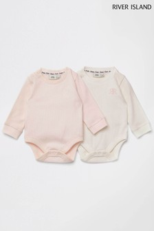 River Island Pink Light Waffle Babygrows Two Pack