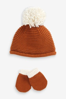 Knitted Hat And Mittens Set (0mths-2yrs)