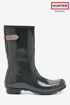 Hunter 灰色Original Back 可調整短款雨靴
