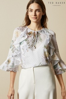 Ted Baker Cream Mariiey Woodland Ruffle Blouse With Keyhole Detail