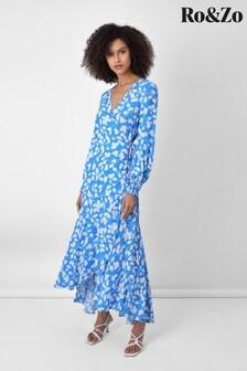 שמלתמידי מעטפת עם הדפס עלים בכחולשלRo&Zo