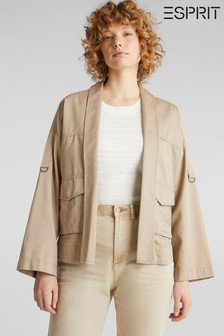 Esprit Cream New Utility Jacket With Pockets And Buckles