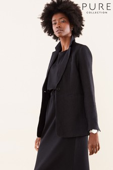 Pure Collection Black Longline Linen Blazer