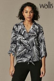 Wallis Hemd mit Schnürung und Palmenmotiv vorne, schwarz