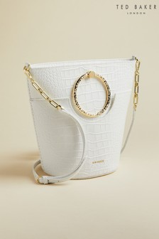 Ted Baker Cream Maisee Exotic Circular Handle Bucket Bag