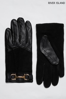 River Island Black Snaffle Leather Mix Gloves