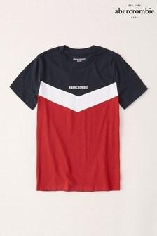 Tmavomodré tričko Abercrombie & Fitch s veľkým V vzorom