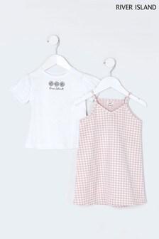 River Island T-Shirt-Kleid mit Vichykaros, Pink