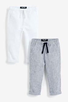 2 Pack Linen Blend Trousers (3mths-7yrs)