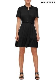Whistles Black Tate Smocking Detail Dress