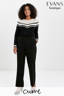 Evans Curve Black Workwear Stitch Detail Trousers