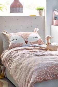 Natural Fleece Appliqué Deer Duvet Cover and Pillowcase Set