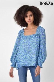 חולצה פרחונית עם צווארון מרובע ומלמלה של Ro&Zo בכחול