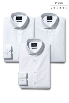 Moss London Skinny Fit Shirts Three Pack