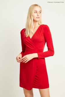 French Connection Red Slinky Jersey Long Sleeve Wrap Dress
