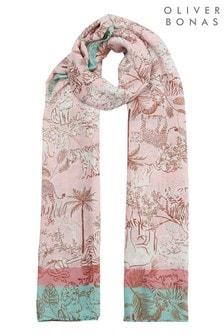 Oliver Bonas 粉紅色動物王國輕盈圍巾