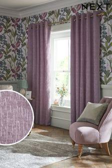 Пурпурные плотные шторы из синели с подкладкой и люверсами