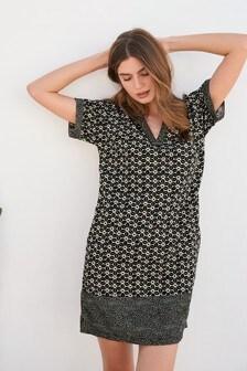Kaftan-Kleid aus Leinenmischung