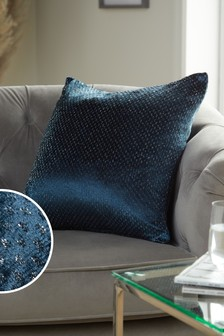 Navy Glitter Spot Cushion