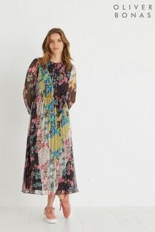 Oliver Bonas Black Chevron Patched Floral Pleated Midi Dress