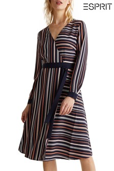 Esprit Blue Wrap Tie Dress With Stripes In Opposite Directions