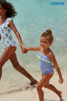 Sunuva Gerüschter Badeanzug mit Bommeln und Zickzackmuster, Blau
