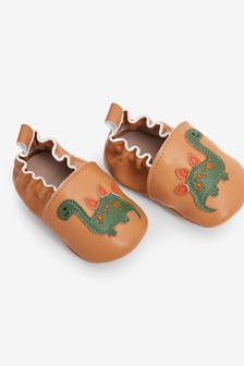 Slip-On Leather Dino Pram Shoes (0-24mths)