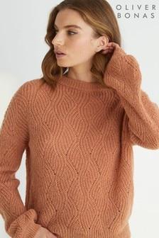 סוודר סרוג עם גב וי של Oliver Bonas דגם Camel Stitch בחום
