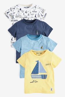 4件裝貼花小船T恤 (3個月至7歲)