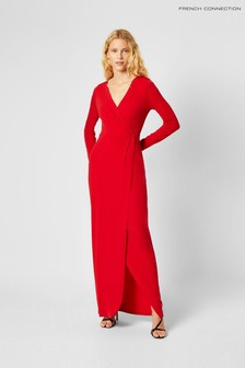 French Connection Red Slinky Jersey Wrap Maxi Dress
