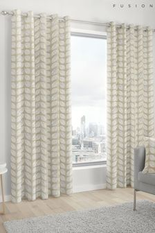 Fusion Delft Leaf Print Eyelet Curtains
