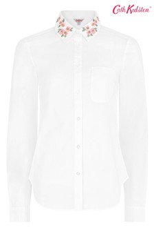 Cath Kidston® Pink Mayfield Blossom Embroidered Collar Shirt