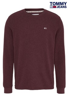 Tommy Jeans Red Mini Waffle Long Sleeve T-Shirt