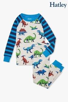 Кремовая пижама из органического хлопка с рукавами реглан и принтом динозавров Hatley