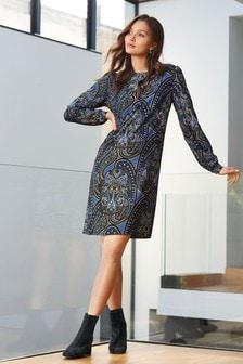 Цельнокройное платье с длинными рукавами с манжетами
