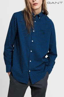 GANT Blue Winter Twill Buffalo Check Regular Shirt