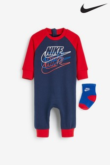 Nike Baby Navy/Red Suit And Socks Set