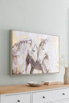 馬匹鑲框帆布畫