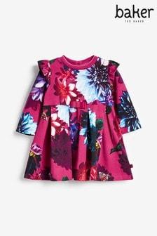 שמלת ג'רזי פרחונית של Ted Baker דגםBakerבצבע בורדו