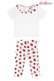 Cath Kidston Cream Sweet Strawberry Baby Collar T-Shirt And Leggings Set