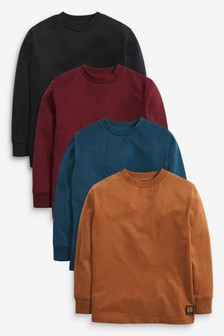 4 Pack Long Sleeve Jersey T-Shirt (3-16yrs)